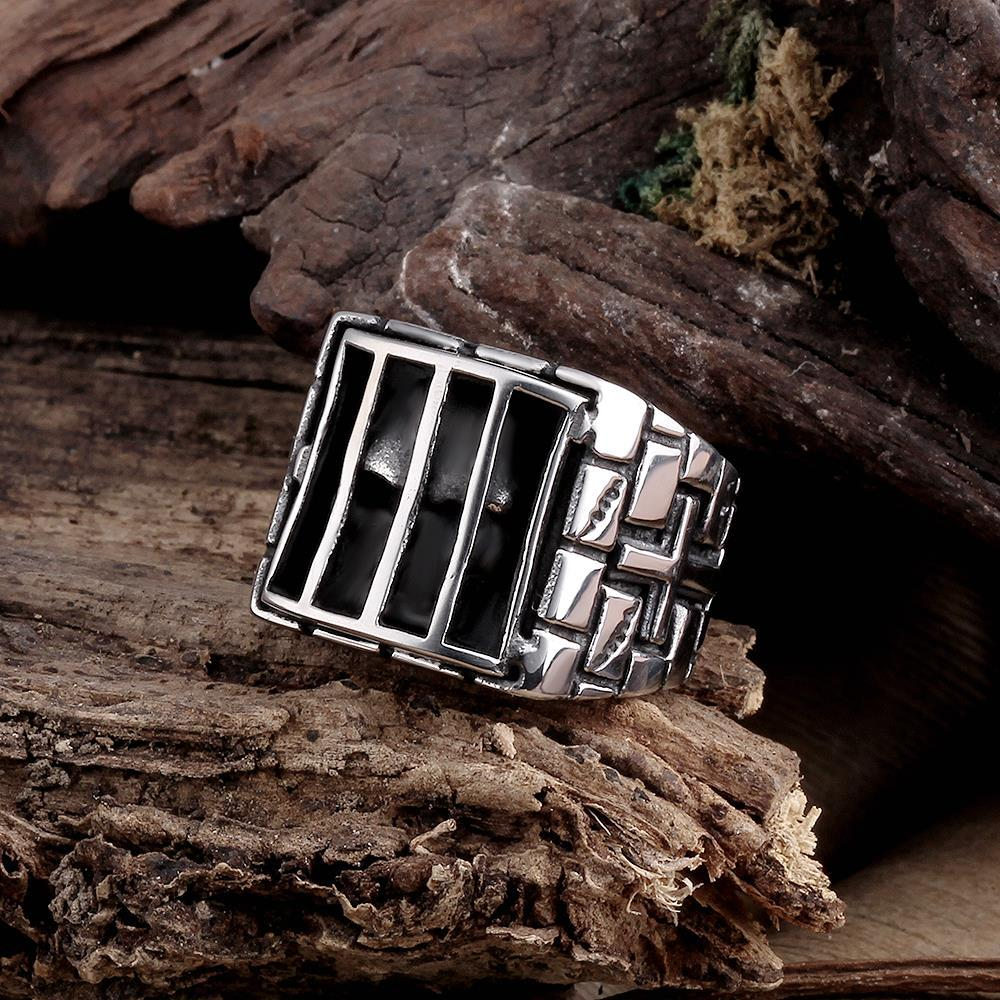 Vienna Jewelry Skull Behind Bars Stainless Steel Ring