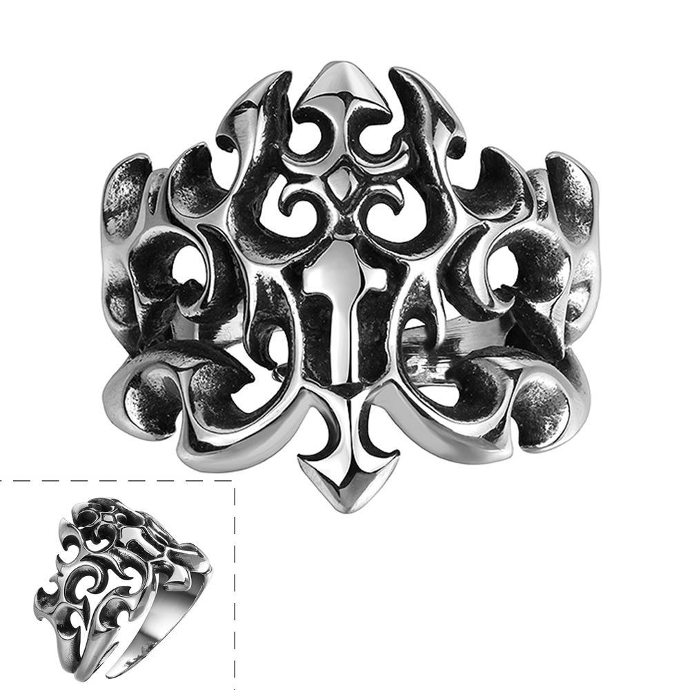 Vienna Jewelry Abstract Hollow Shield Stainless Steel Ring