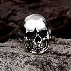 Vienna Jewelry Stainless Steel Medium Shaped Skull Ring - Thumbnail 0