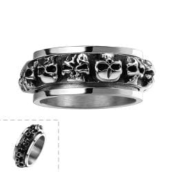 Vienna Jewelry Round of Skulls Stainless Steel Ring - Thumbnail 0