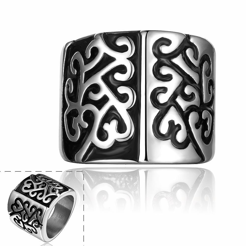 Vienna Jewelry Two Toned Abstract Emblem Stainless Steel Ring