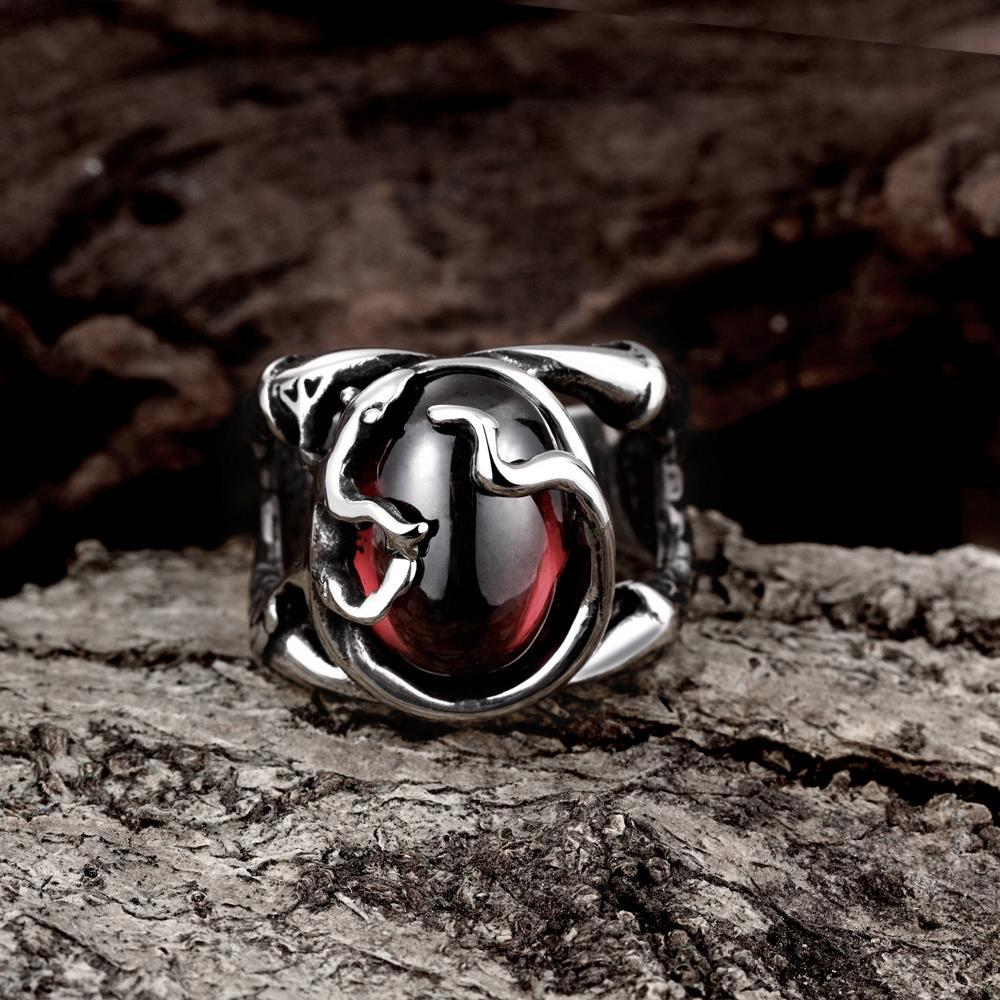 Vienna Jewelry Abstract Ruby Red Stainless Steel Ring