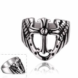 Vienna Jewelry Shield Emblem Stainless Steel Ring - Thumbnail 0