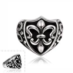Vienna Jewelry Abstract Shield Emblem Stainless Steel Ring - Thumbnail 0