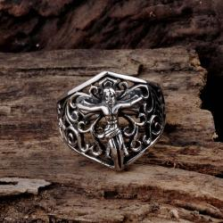 Vienna Jewelry Flying Angel Stainless Steel Ring - Thumbnail 0