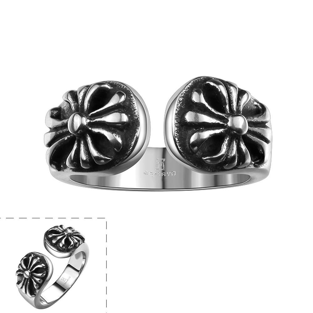 Vienna Jewelry Open Emblem Stainless Steel Ring