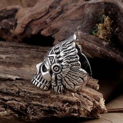 Vienna Jewelry Aztec Tribal Stainless Steel Ring - Thumbnail 0
