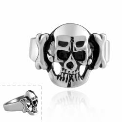 Vienna Jewelry Hollow Stainless Steel Skull Ring - Thumbnail 0