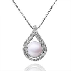 Vienna Jewelry White Gold Plated Curved Cultured Pearl Emblem Pendant - Thumbnail 0