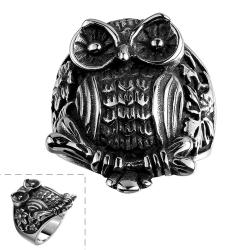 Vienna Jewelry Stainless Steel Owl's Emblem Ring - Thumbnail 0