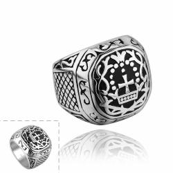 Vienna Jewelry The King's Seal Emblem Stainless Steel Ring - Thumbnail 0