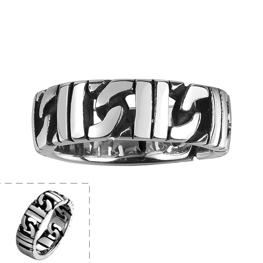 Vienna Jewelry Stainless Steel Interlocked Classic Ring - Thumbnail 0