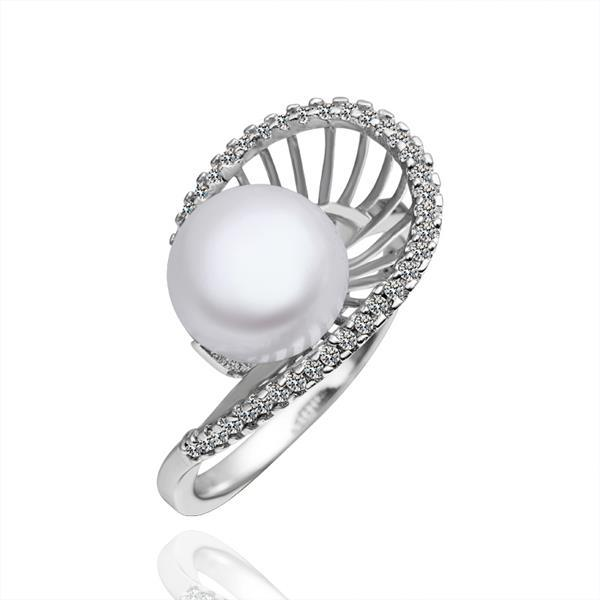 Vienna Jewelry White Gold Plated Cultured Pearl Sea-Shell Ring
