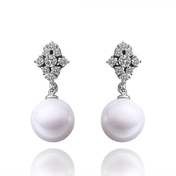 Vienna Jewelry Cultured Pearl Crystal Clover Drop Earrings
