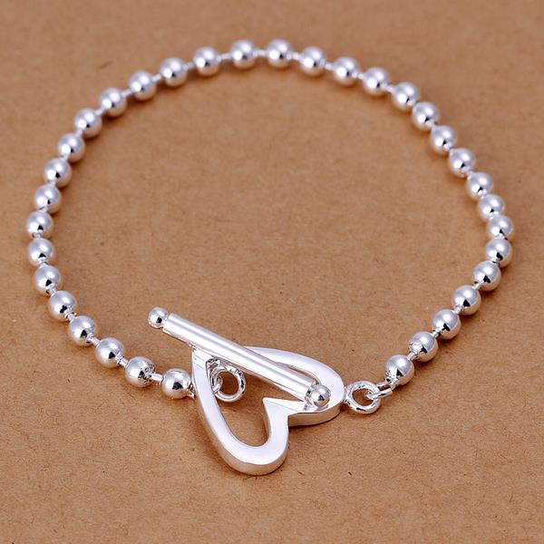 Vienna Jewelry Sterling Silver Petite Bead Heart Closure Bracelet