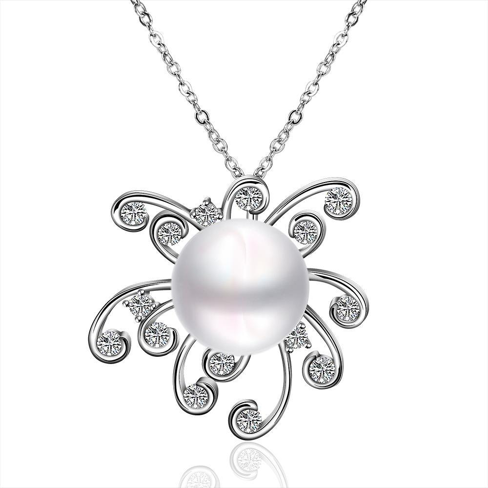 Vienna Jewelry White Gold Plated Cultured Pearl Blossoming Clover Pendant
