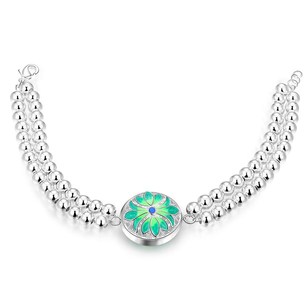 Vienna Jewelry Sterling Silver Circular Emerald Emblem Bracelet