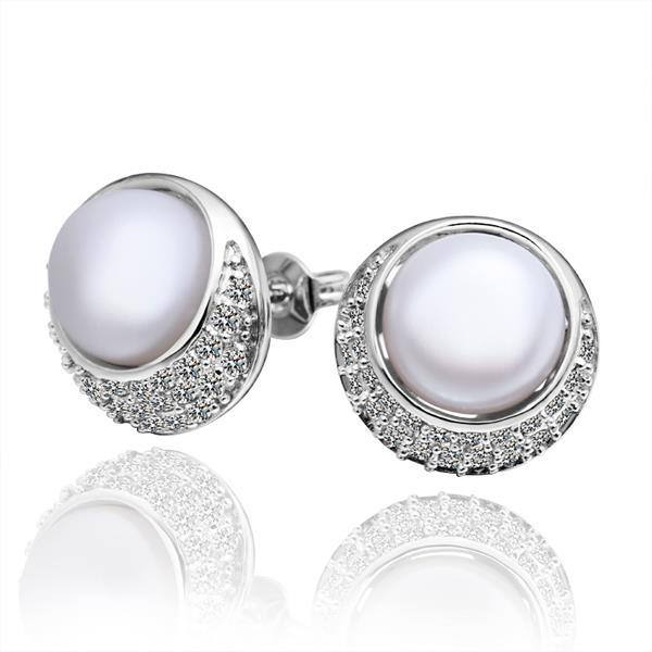 Vienna Jewelry Cultured Pearl Circular Emblem Crystal Covering Stud Earrings