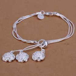 Vienna Jewelry Sterling Silver Trio-Floral Petals Dangling Bracelet - Thumbnail 0