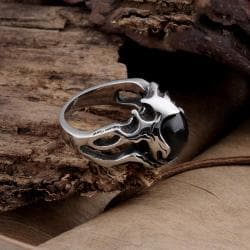 Vienna Jewelry Black Gem Abstract Stainless Steel Ring - Thumbnail 0