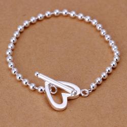 Vienna Jewelry Sterling Silver Petite Bead Heart Closure Bracelet - Thumbnail 0