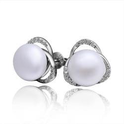 Vienna Jewelry Cultured Pearl Triangular Shaped Stud Earrings - Thumbnail 0