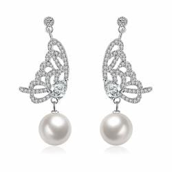 Vienna Jewelry Cultured Pearl Dangling Butterfly Earrings - Thumbnail 0