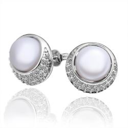Vienna Jewelry Cultured Pearl Circular Emblem Crystal Covering Stud Earrings - Thumbnail 0
