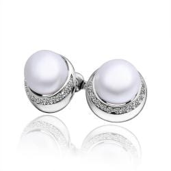 Vienna Jewelry Cultured Pearl Crystal Circular Rounding Earrings - Thumbnail 0