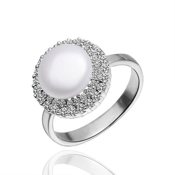 Vienna Jewelry White Gold Plated Jewels Covering Pearl Ring