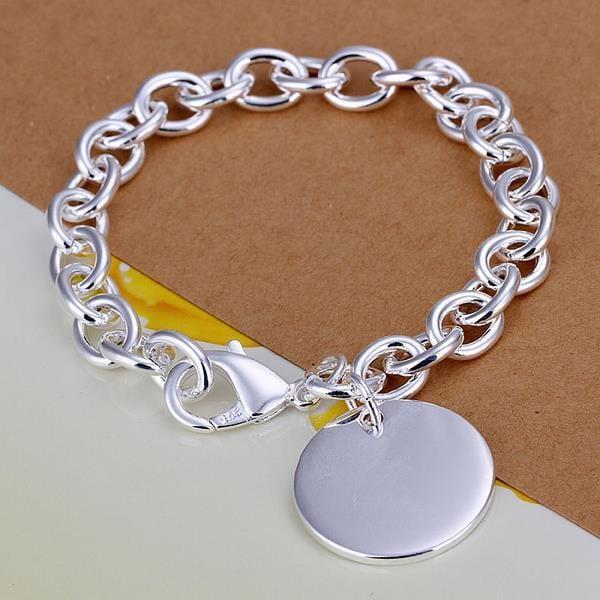 Vienna Jewelry Sterling Silver Petite Circular Emblem Bracelet