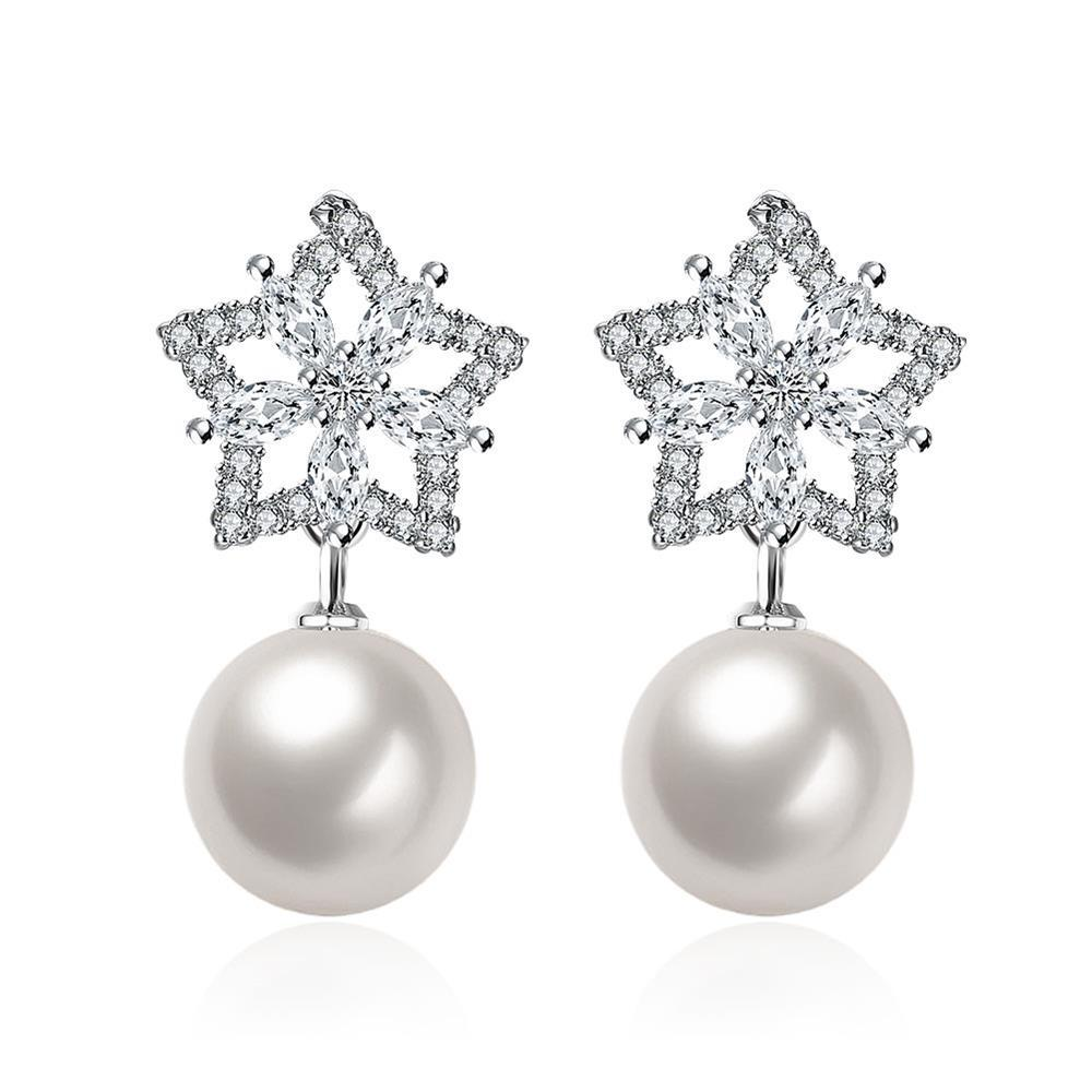 Vienna Jewelry Cultured Pearl Star Shaped Drop Earrings