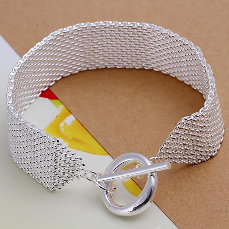 Vienna Jewelry Sterling Silver Large Mesh Clasp Closure Bracelet