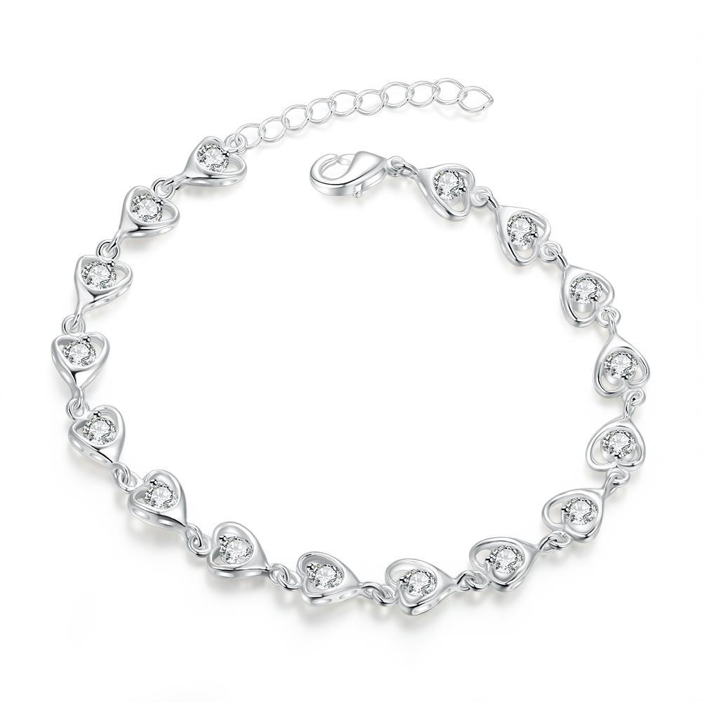 Vienna Jewelry Sterling Silver Multi Curved Heart Shaped Connecting Bracelet