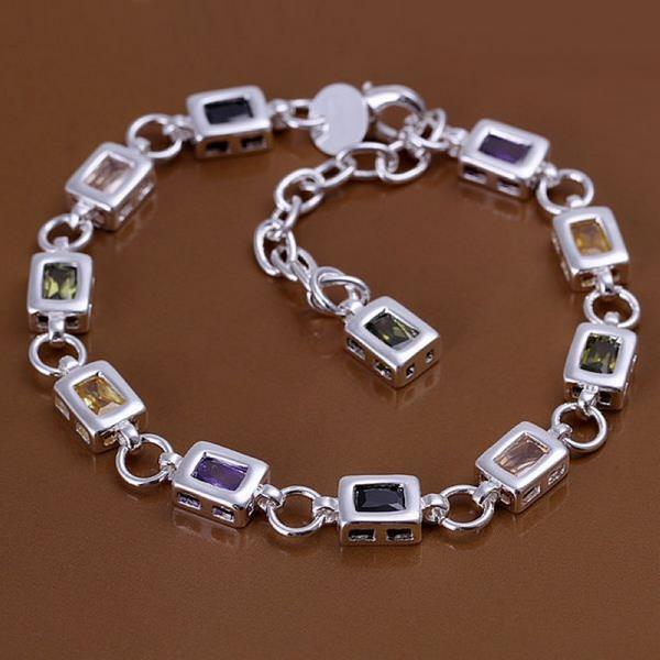 Vienna Jewelry Sterling Silver Multi Square Rainbow Gems Bracelet