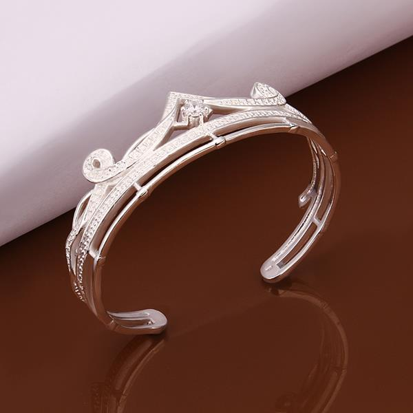 Vienna Jewelry Sterling Silver Petite Tiara Classic Bangle