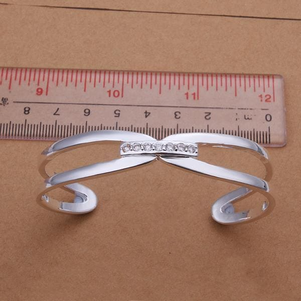 Sterling Silver Crystal Lining Open Bangle
