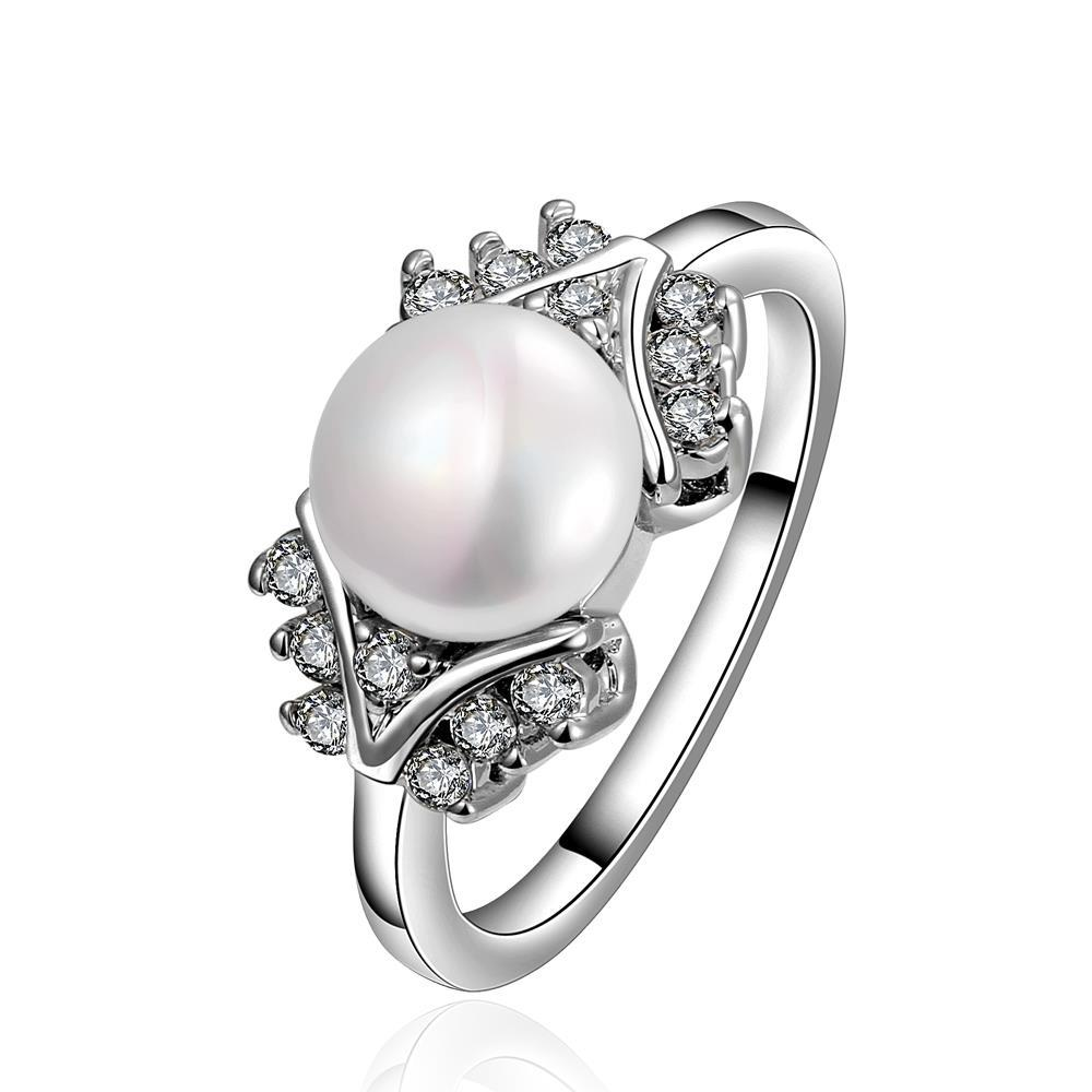 Vienna Jewelry White Gold Plated Cultured Pearl Orchid Ring