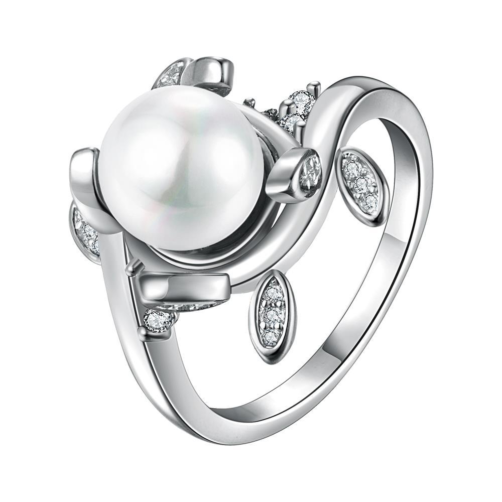 Vienna Jewelry White Gold Plated Cultured Pearl Leaf Inserts Ring