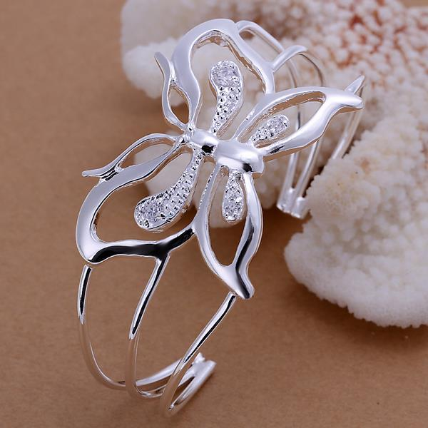 Vienna Jewelry Sterling Silver Hollow Laser Cut Flying Butterfly Bangle