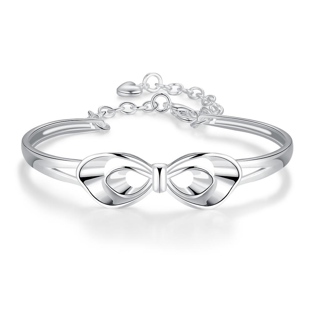 Vienna Jewelry Sterling Silver Petite Infinite Loop Emblem Bangle