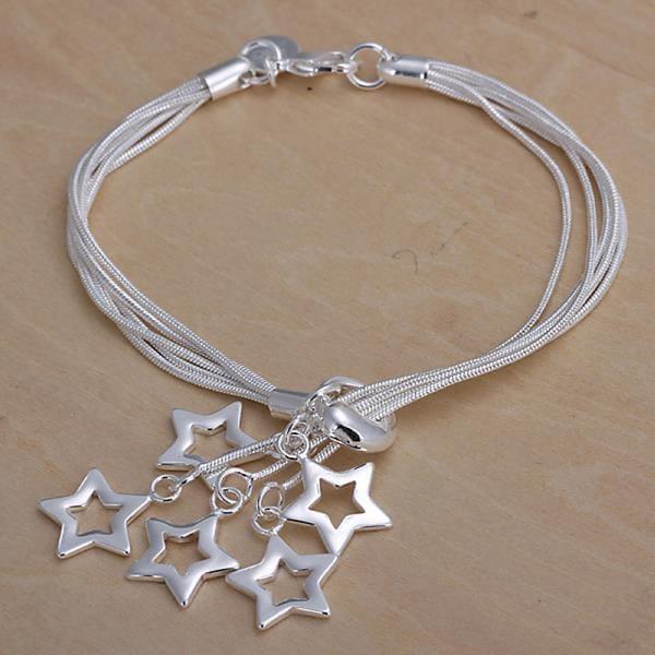 Vienna Jewelry Sterling Silver Dangling Heart Design Bracelet