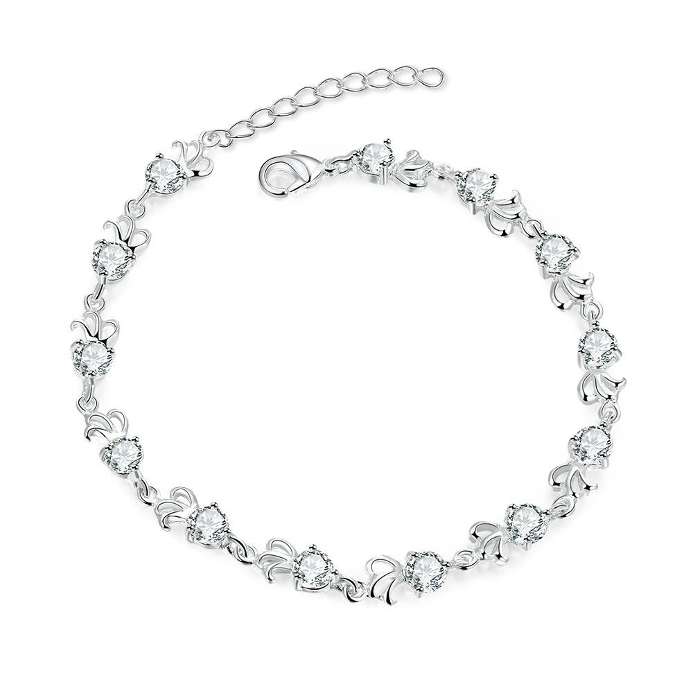 Vienna Jewelry Sterling Silver Multi-Crystal Connecting Bracelet