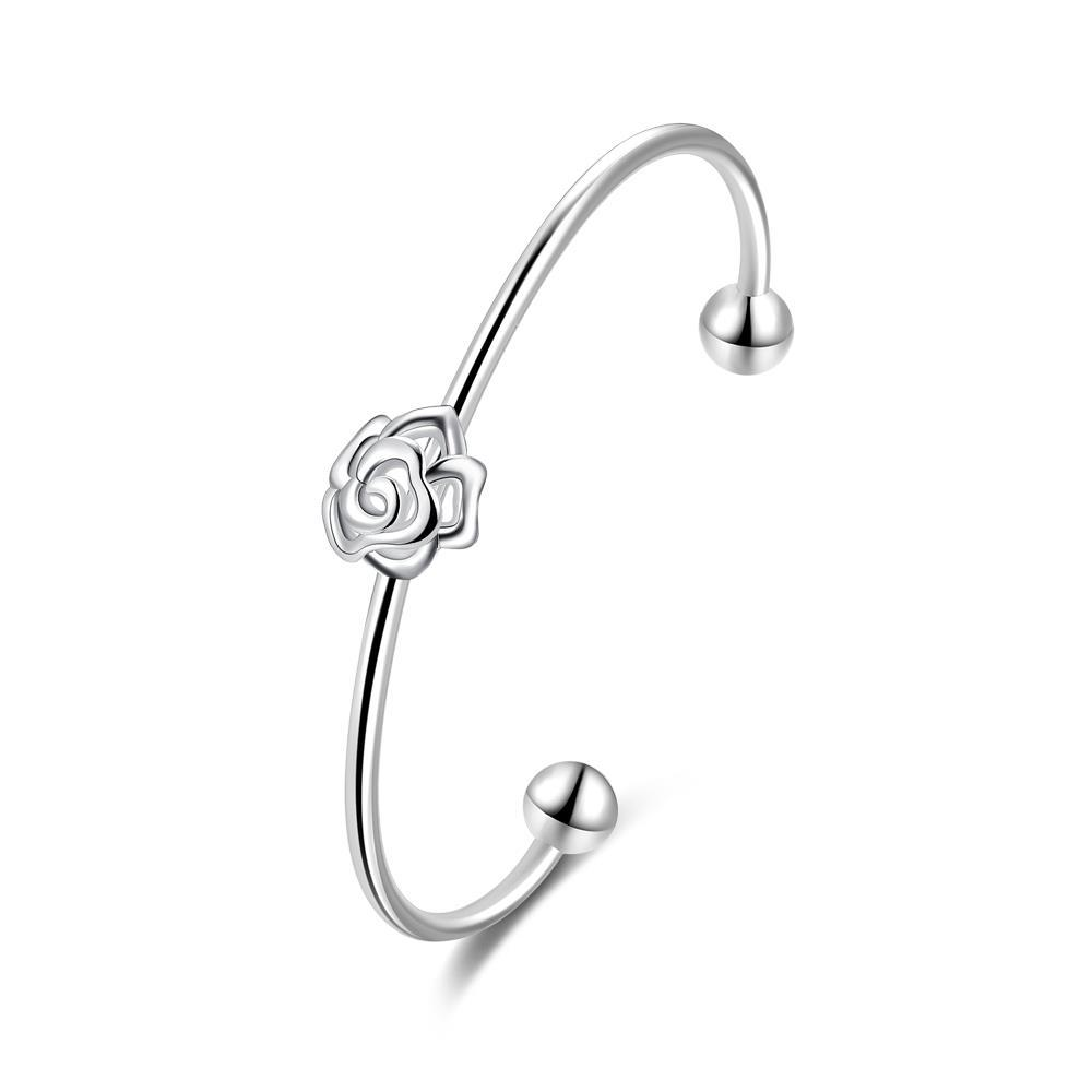 Vienna Jewelry Sterling Silver Petite Mini Floral Emblem Bangle