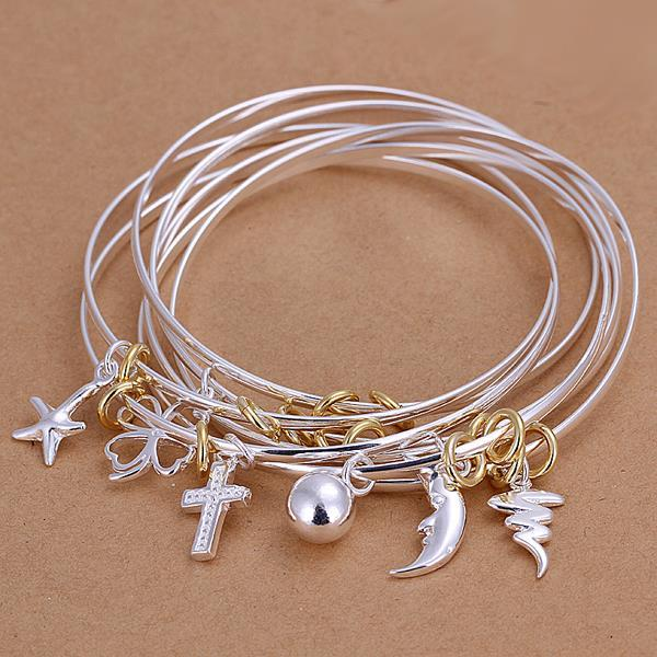 Sterling Silver Multi Lined & Charms Bangle