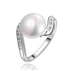Vienna Jewelry White Gold Plated Curved Cultured Pearl Ring - Thumbnail 0