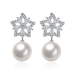 Vienna Jewelry Cultured Pearl Star Shaped Drop Earrings - Thumbnail 0