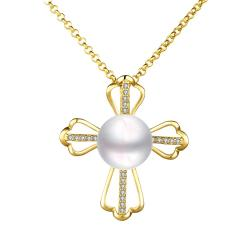 Vienna Jewelry Petite Gold Plated Cultured Pearl Cross Necklace