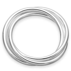 Sterling Silver Multi Lined Classic Bangle - Thumbnail 0
