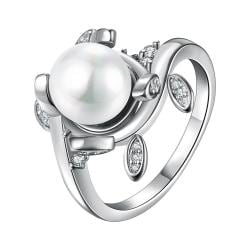 Vienna Jewelry White Gold Plated Cultured Pearl Leaf Inserts Ring - Thumbnail 0